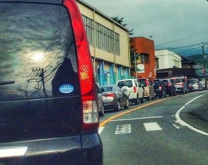 渋滞している車