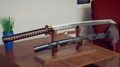 飾られた日本刀
