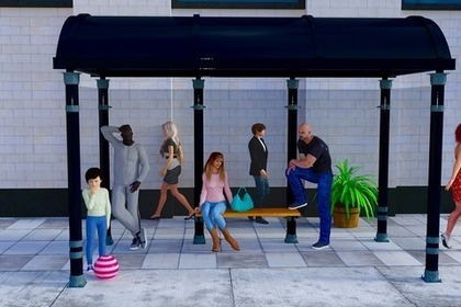 バス停にいる人たち