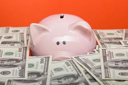 豚の貯金箱と紙幣
